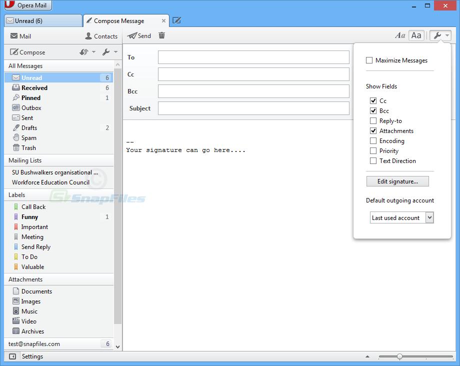Klient poczty Opera mail