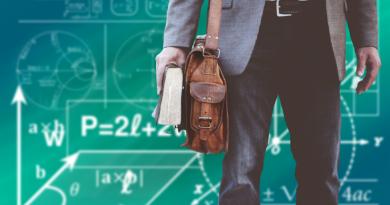 student z walizką na tle zielonej tablicy z zapiskami