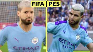 Porównianie Sergio Aguero w grze FIFA 21 i PES 2021