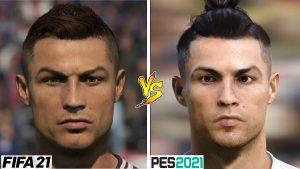 Porównanie Cristiano Ronaldo w grze FIFA 21 i PES 2021