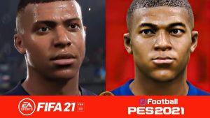 Porównianie Kyliana Mbappe w grze FIFA 21 i PES 2021