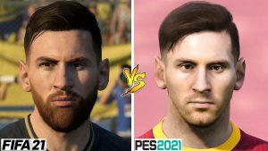 Porównaine Leo Messiego w grze Fifa 21 i PES 2021